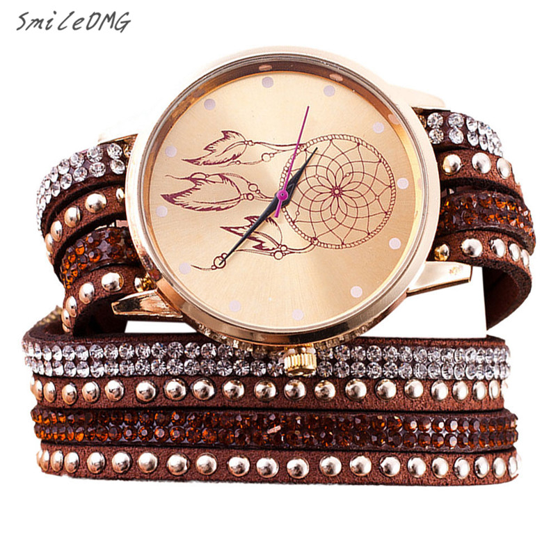 SmileOMG Hot Sale Fashion Watch Women Crystal Rivet Bracelet Quartz Braided Winding Wrap Wrist Watch Christmas