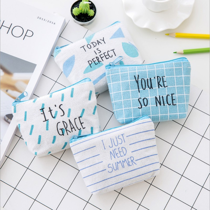 Rose Diary New Simple lattice letter cute canvas zipper bag zero wallet child girl boy purse, lady women coin wallets Pouch Case 1 pcs rose diary new cute animal canvas coin purses zipper zero wallet child girl boy women purse lady coin bag key packet