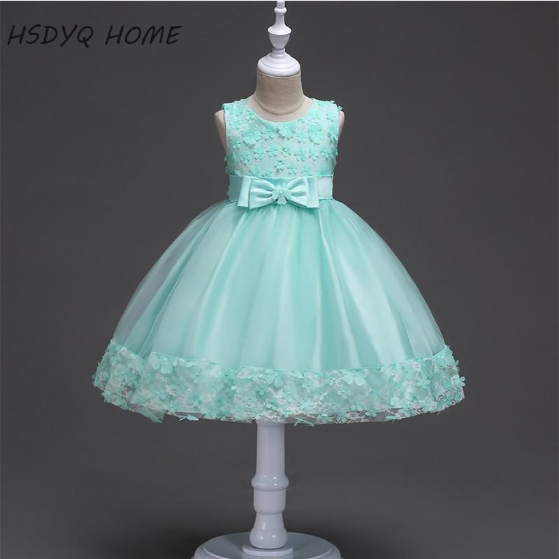 Summer Simple   Flower     Girl     Dresses   3D   Flower   A-Line Children gown real photo cheap A-Line Kids   Dress   New Arrival