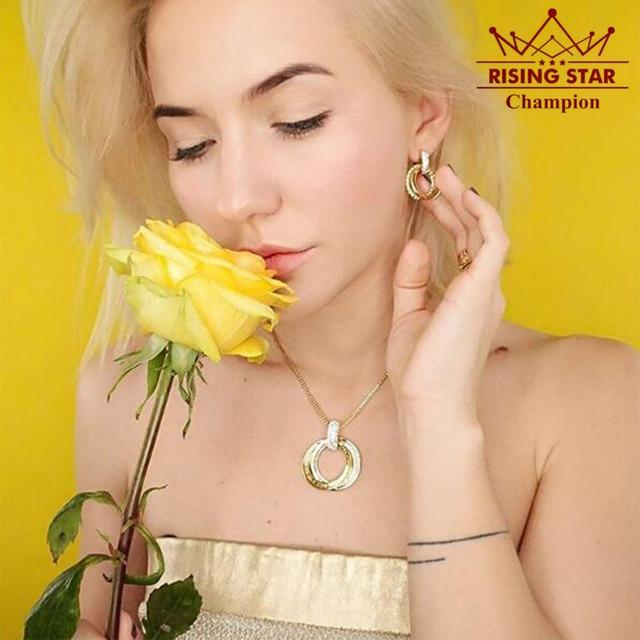 Viennois conjunto de jóias para mulher banhado a ouro duplo círculo gargantilha colar e brincos conjuntos de jóias de moda para mulher