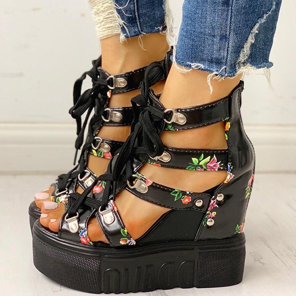 HTB1sUsXaB1D3KVjSZFyq6zuFpXat INS Hot Print Leisure Wedges women's Shoes 2019 Summer Shoes women Sandals Platform Shoelaces High Heels Casual Shoes Woman