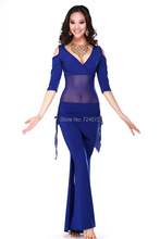 HOT SALE! milk silk and mesh belly dance suit top,wait hip scarf and trousers 3pcs belly dance set 5 colors M L XL