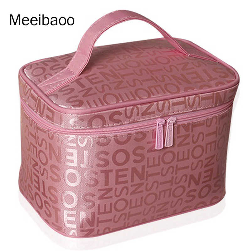 fc78191688 Makeup bag 2018 new lady cosmetic bags women mini portable cherry pattern  letter Toiletry kits wash