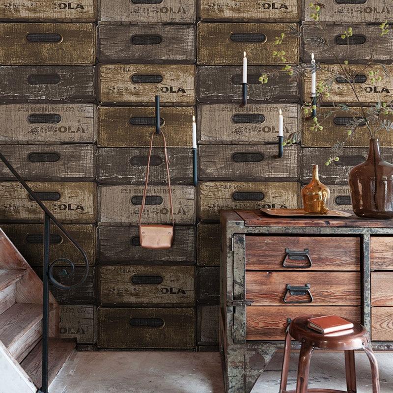 Vintage Imitation Wooden Wallpaper 3D Box Drawer PVC Wallpaper Restaurant Hotel KTV Clothing Store Wall Paper 3D Papel De Parede