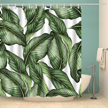 Papa&Mima Nordic style Leaves printed Waterproof Shower Curtains Polyester Bathroom Curtains With Hooks Decorative Bathtub(China)