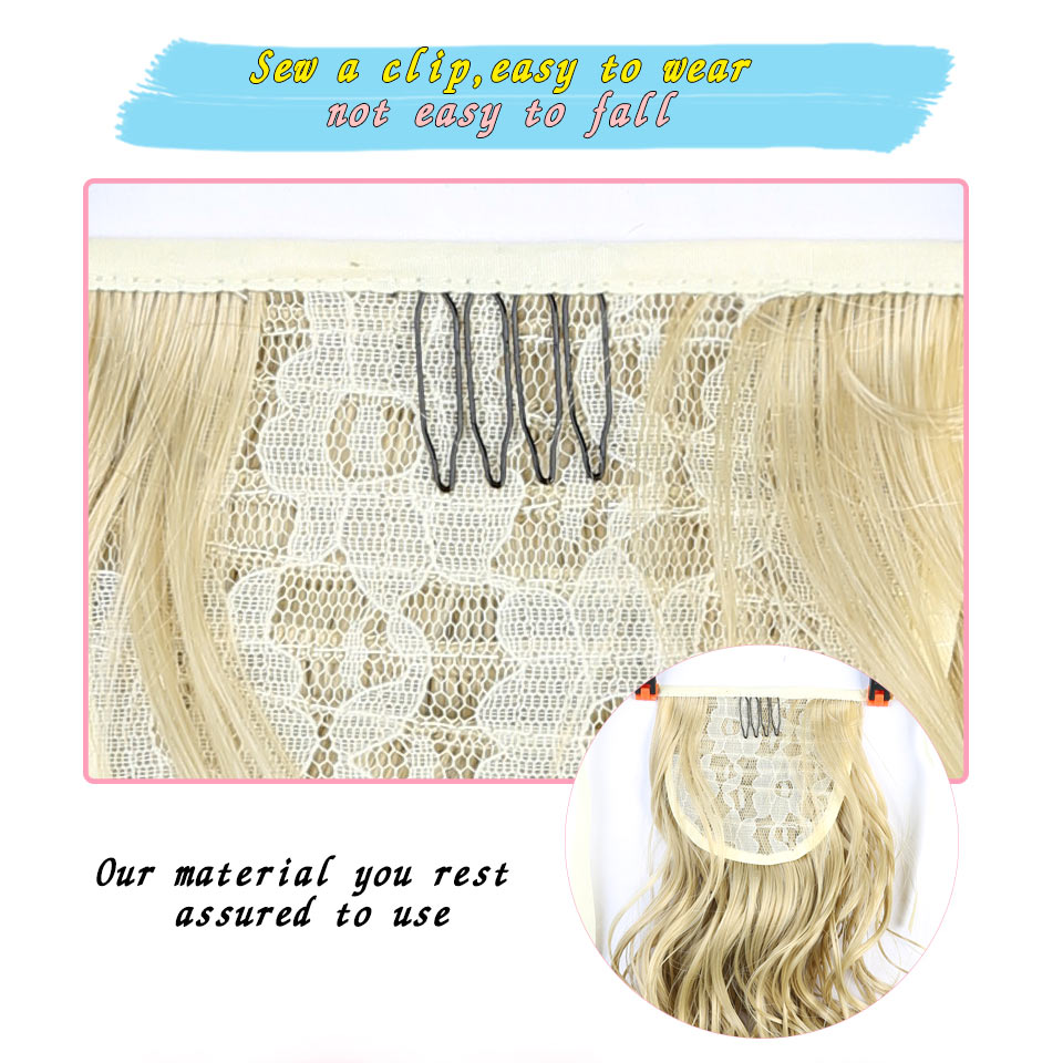 Short Lady Girl Wavy Ponytail Wigs Pony Hair Hairpiece Extension Drawstring Hair Ponytail Natural Synthetic JINKAILI WIG