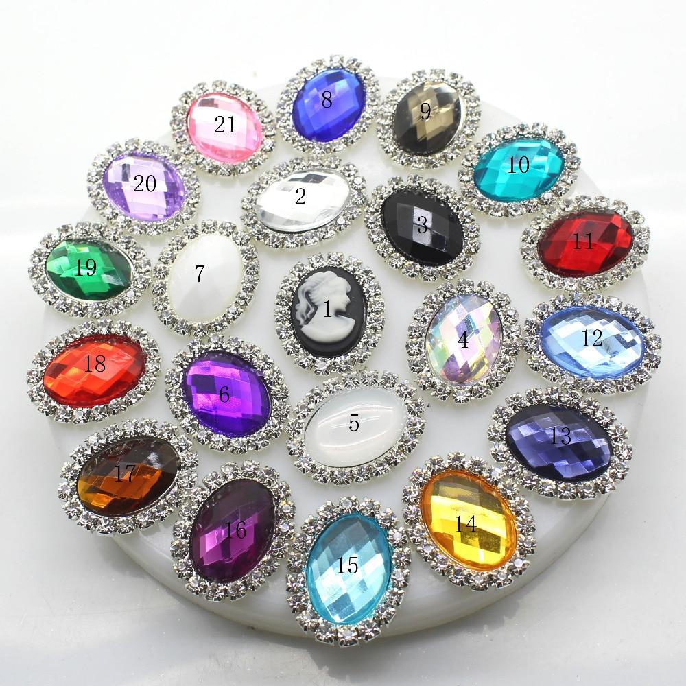 ZMASEY Metal Buttons 10Pcs/set 20mm*25mm Oval Flatback Rhinestone Button Wedding Invitation Sewing Decor Acrylic Accessories