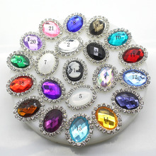ZMASEY Metal Buttons 10Pcs/set 20mm*25mm Oval Flatback Rhinestone Button Wedding Invitation Sewing Decor Acrylic Accessories