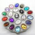 ZMASEY botones de Metal 10 unids/set 20mm * 25mm Oval Flatback Botón del Rhinestone de invitación de la boda de costura decoración de acrílico Accesorios