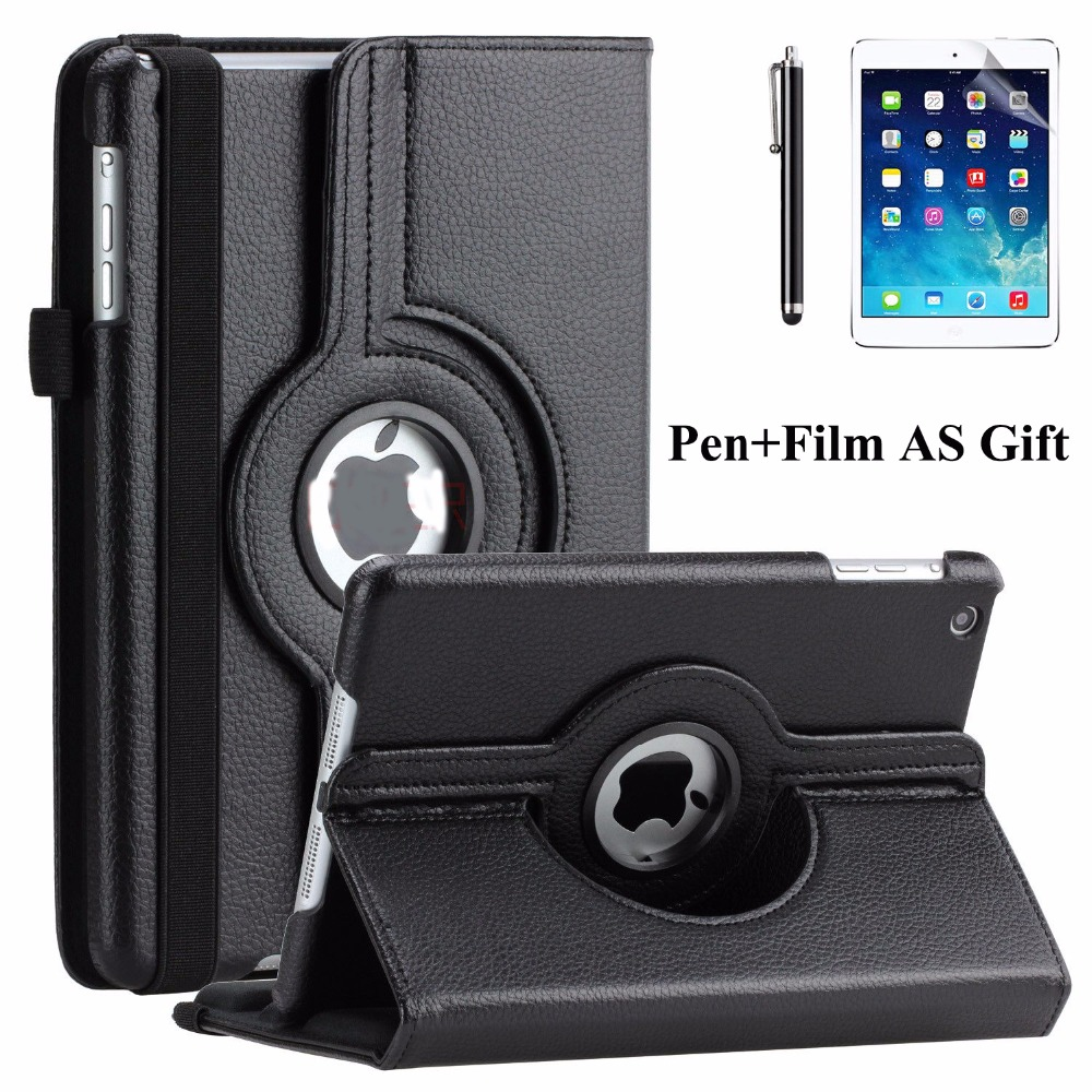 цена на Cover Case For funda iPad mini,360 Rotation Flip PU Leather Case Stand Case for iPad mini 123 Funda Case for iPad mini 2+Film