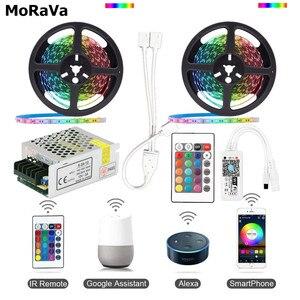 Image 2 - Ruban lumineux RGB 5050 sans fil + contrôleur WiFi + alimentation, LED, WiFi LED bande lumineuse Flexible étanche, 5M 10M 15M, 12V LED 150 s, led