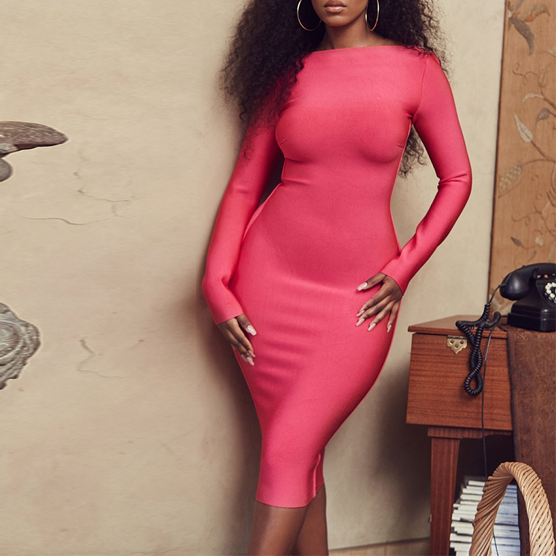 Deer Lady Summer Dress Bandage Bodycon 2019 New Arrivals Backless Long Sleeve Bandage Dress Sexy Women Midi Party Dress Elegant in Dresses from Women 39 s Clothing