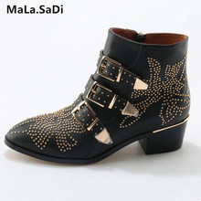 Hot Sale New Fashion Cool Women Sexy Rivets Buckle Ankle Boots High Quality Genuine Leather Med Square Heels Shoes Size 35-42