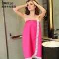 2017 doce mulher roupão de banho de algodão strapless strapless vestido de renda com botões ajustáveis waffle roupão de banho das mulheres pijamas