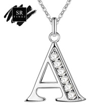 Фотография SR:FINEJ Fashion Letters Pendant Necklaces for Women Girls Initial Crystal Pendant Silver Chain Alfabet Necklace Jewelry Gift
