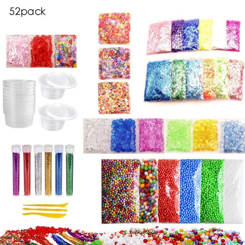 52 Pack Kit de fabrication de Slime coloré boule de mousse Granules perles plates or poudre bonbons papier polymère argile ensemble matériel de bricolage pour enfants