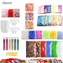52 Pack Slime Making Kit Colorful Foam Ball Granules Flat Beads Gold Powder Candy Paper Polymer Clay Set Children's DIY Material(China)