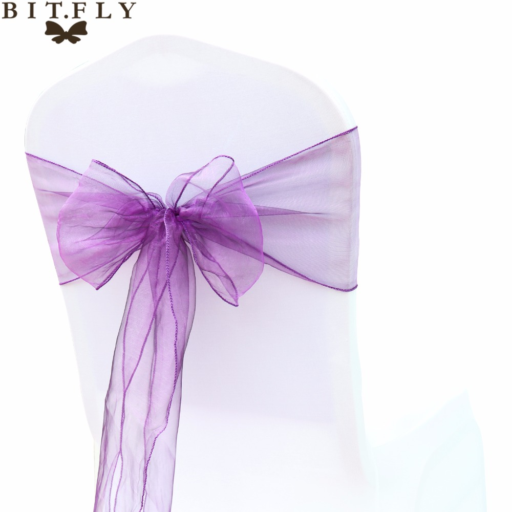 BIT FLY 100Pcs lot High Quality Sheer Qrganza Wedding Chair Sashes Bows knot Decoration For Wedding