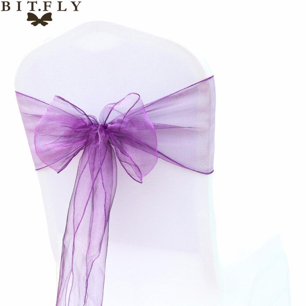BIT. FLY 100 stks/partij Hoge Kwaliteit Sheer Qrganza Bruiloft Stoel Sjerpen Bows knot Decoratie Voor Wedding Banquet Party Event Supplies-in sjerpen van Huis & Tuin op  Groep 1