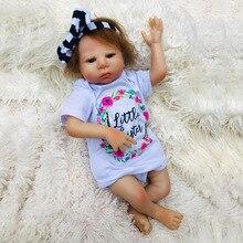 18 Inch Full Body Silicone Reborn Babies Girl Doll Bath Toy Lifelike Newborn Princess Baby Bonecas Bebes Menina Gift