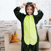 Cartoon Animal Style Children Conjoined Pajamas 2017 New Flannel Warm Boys Girls Pajama Cute Dinosaur Unicorn