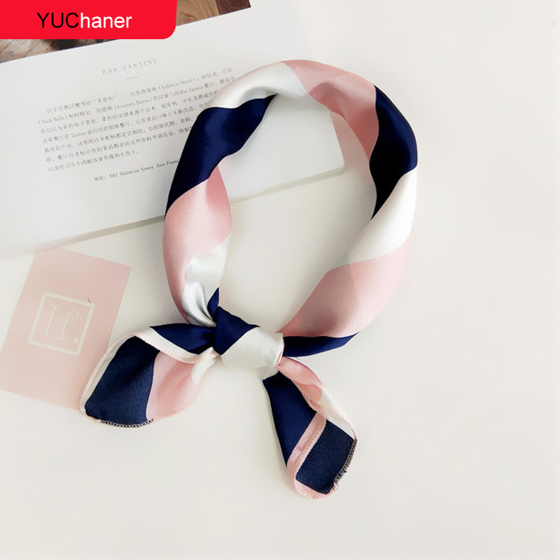 Hair Scarf Tie Animal Print Red Love Satin 50cm Small/Square/Silk/Neck/Ring/Scarf Winter Head Scarf  For Women  Neckerchief 2018