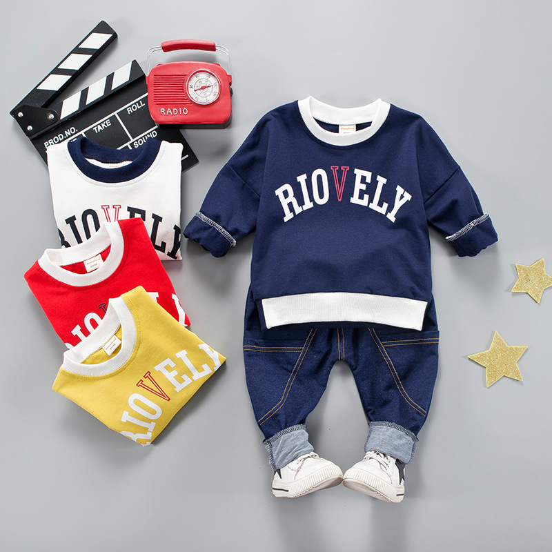 Anlencool spring 2018 new Korean version of the childrens suit boys and girls childrens suit cute sports jeans two-piece suit