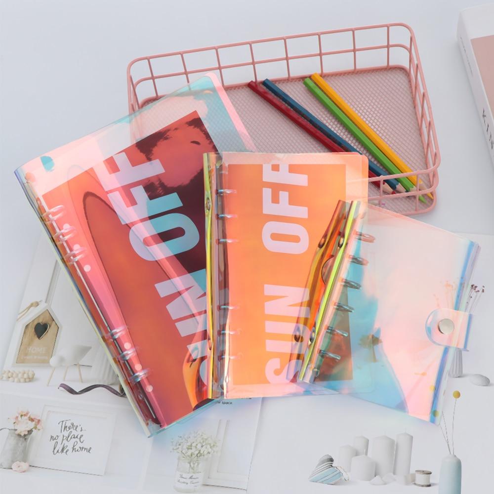 1 Pc A5 A6 A7 Pvc Regenbogen Laser Binder Transparent Notebook Tagebuch Abdeckung Glitter Lose Blatt Notizbuch Planer Clip Büro Liefert