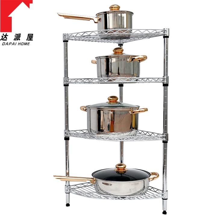 Stainless Steel Four Layer Rack Corner Shelf Diy Pot Shelf