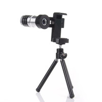 Metal Universal 12X Zoom Telephoto Lens Clip Detachable Portable Phone Camera Kit With Tripod For IPhone