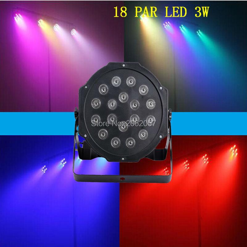 Hög ljusstyrka LED par 18x3w RGB parljus dj disco scenljus med DMX512 Master i julljus Club Bar familjefest
