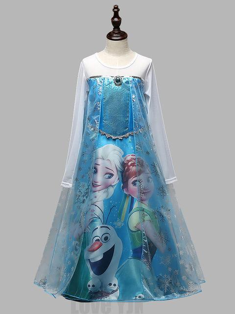 2016 nuevo caliente llegada Elsa Anna princesa de las muchachas del paño partido del vestido del Vestidos del verano del bebé niños de encargo Cosplay Vestidos
