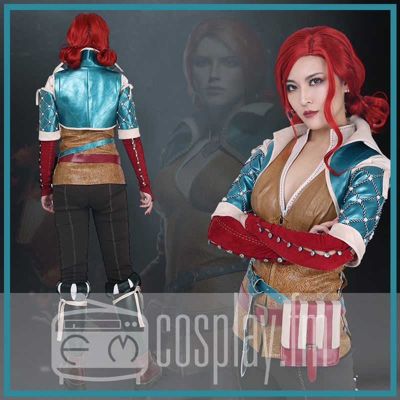 Wild Hunt Triss Merigold Cosplay Costume with belts set 1