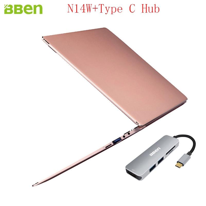 Bben N14W Intel Apollo N3450 Laptop 1920*1080TN Windows10 4GB DDR3 RAM+64GB EMMC Ultrabook Notebook Computer With Type C Hub bben windows10