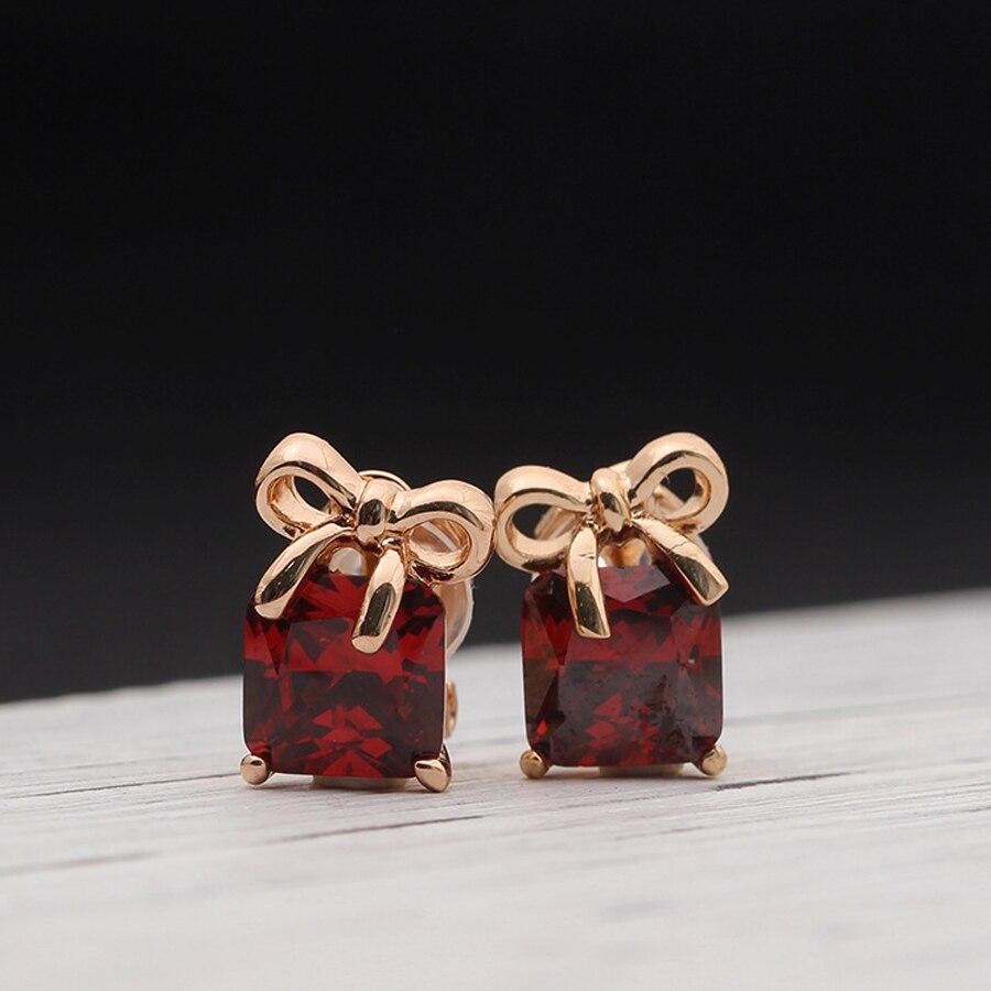 Новый дизайн бантом розовый цвет золотистый покрытием рождественские клип серьги без piering с AAA фианит
