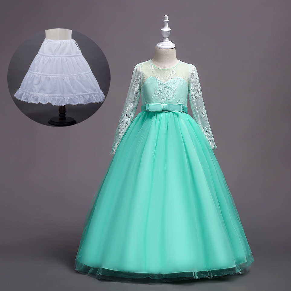 Teen Girl Ceremony New Princess Dress for Girls Kids Long Evening Ball Gown Child Maxi Communion Long Eleghant Wedding Dress цена