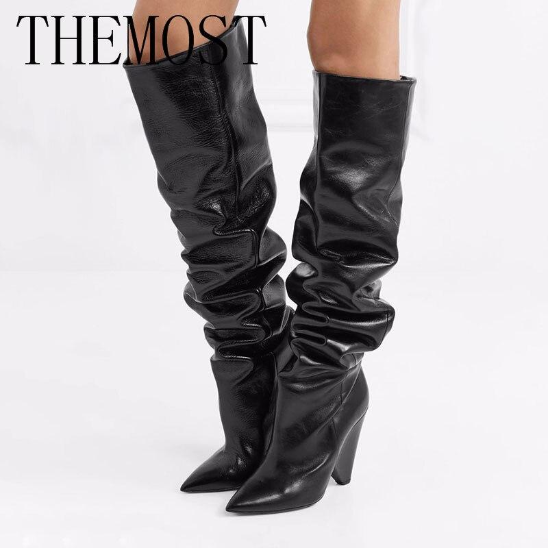 PLUS Schoenen Vrouw Filles Chaussures Bout Pointu Cuisse Haute Bottes En Cuir Vintage Chaussures D'hiver Femmes Longues Bottes de Chevalier Morceau Talons