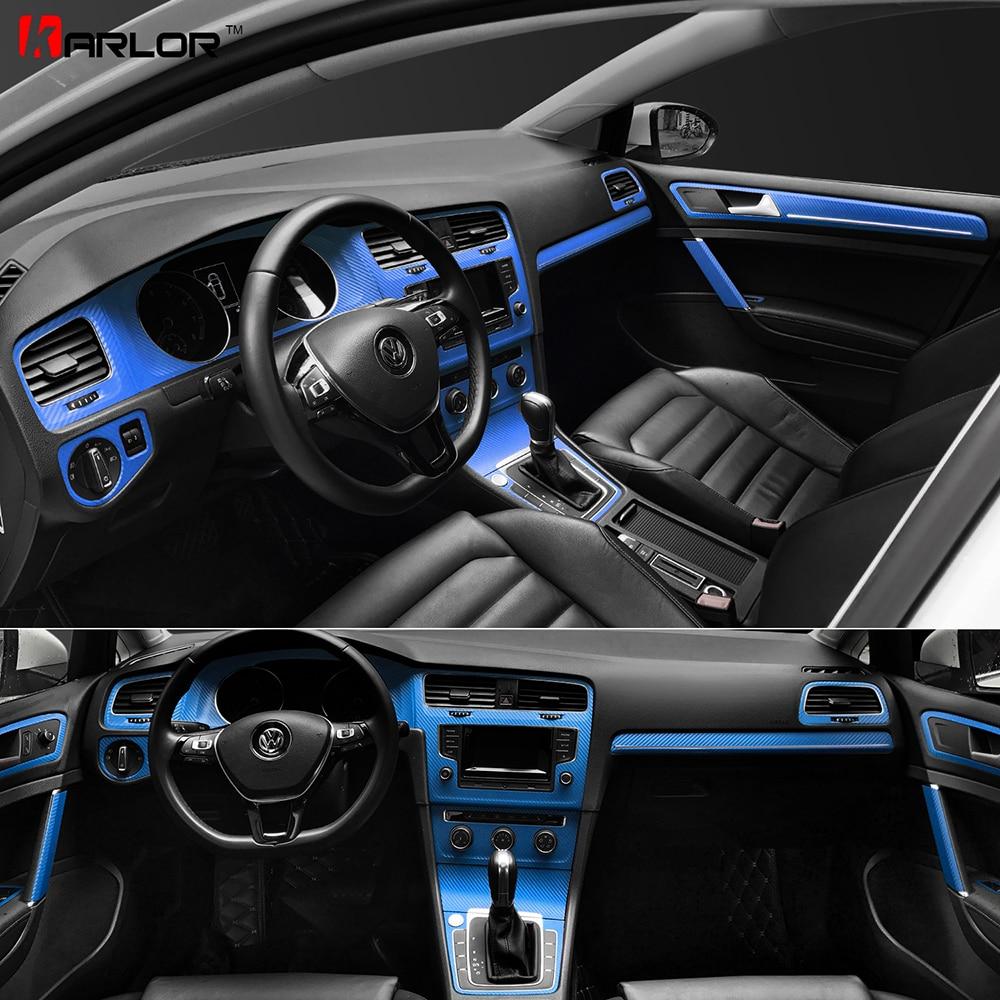 Interior Central Control Panel Door Handle Carbon Fiber Stickers Decals Car styling For VW Volkswagen Golf 7 GTI MK7 Accessories držák na mobil do auta