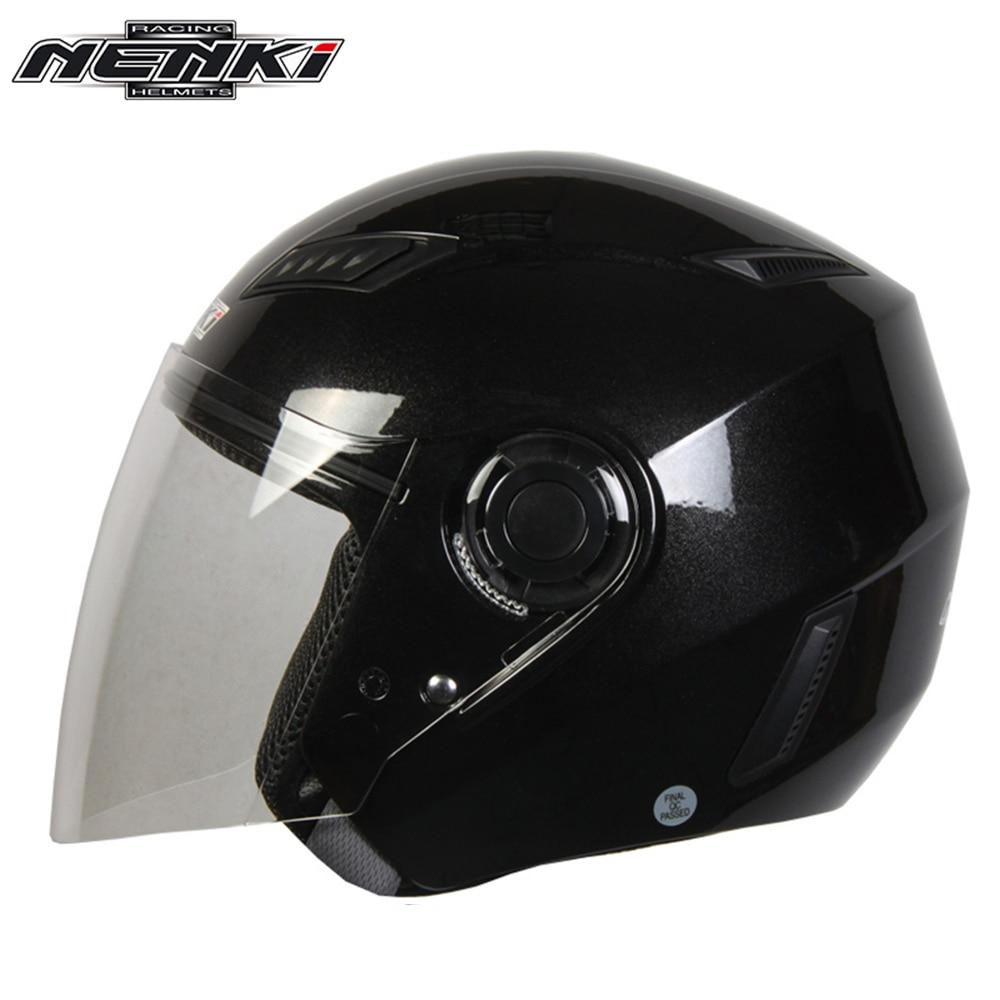 NENKI Motorcycle Open <font><b>Face</b></font> <font><b>Helmet</b></font> Motorbike Cruiser Chopper Touring Street Bike Scooter Riding <font><b>Helmet</b></font> with Clear Lens Shield