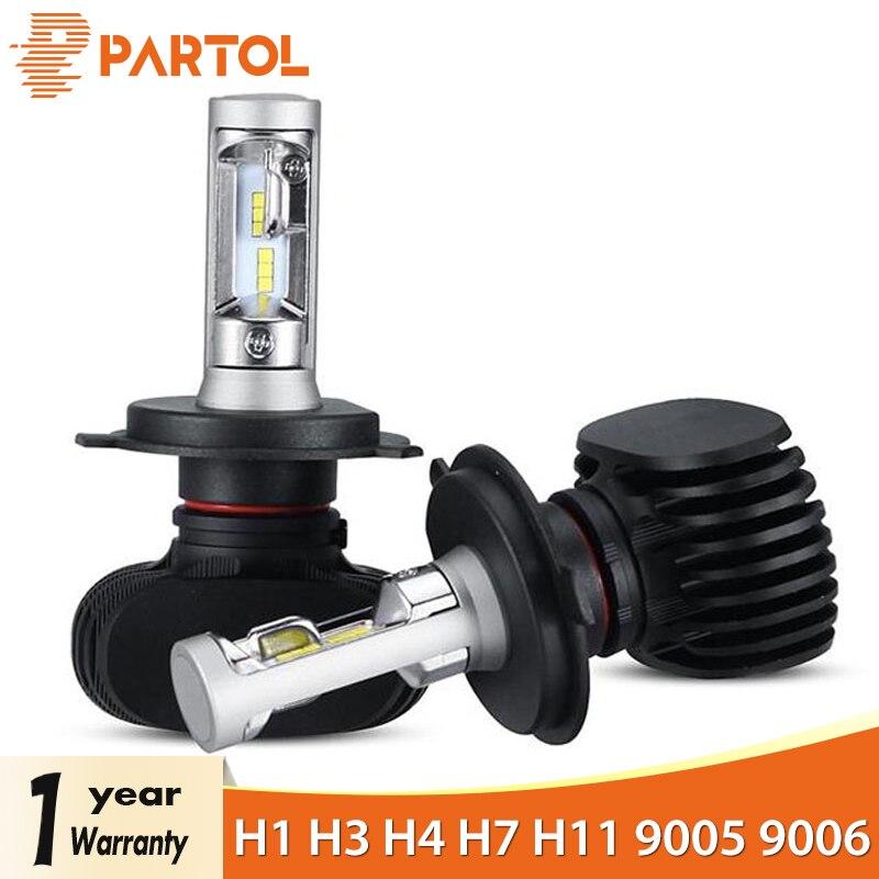 Partol Auto H4 LED Scheinwerfer Lampen 50 watt 8000LM H1 H7 LED 9005 9006 Auto LED H7 Scheinwerfer CSP H11 led-lampen 6500 karat 12 v 24 v Auto Lichter