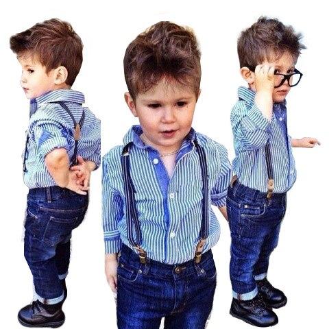 d64924e64d Conjunto de ropa para niños de verano azul a rayas Camiseta de manga larga  + correa Jeans ropa para niños 1 5 años conjunto de traje para bebés en  Sistemas ...