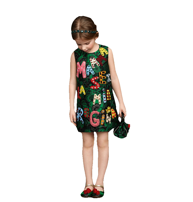 European Style Elegant Sleeveless Mother&Kids Family Matching Outfit Mother&Girl Party Dress