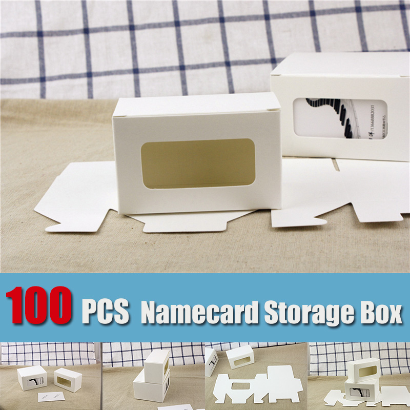 100 PCS Business Cards Packaging Box white kraft paper namecard soap bank card label Tag storage box customized Freeshipping