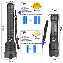50000 lumens Lamp xhp70.2 most powerful flashlight usb Zoom led torch xhp70 xhp50 18650 or 26650 battery Best Camping, Outdoor