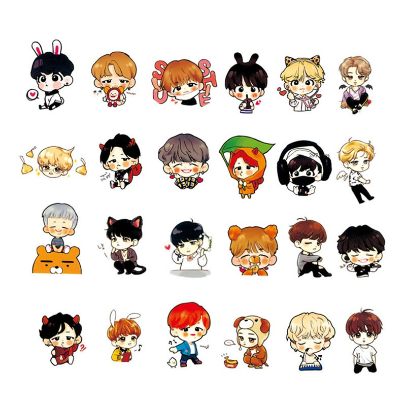 Office & School Supplies 63/58pcs/set Cute Bts Expression Stickers Love Yourself Answer Cartoon Q Version Pvc Stationery Sticker For Luggage Notebook