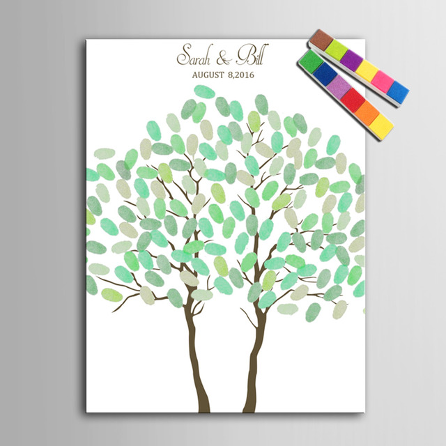Fingerprint Tree Signature Canvas Painting Two Trees Wedding Gift ...