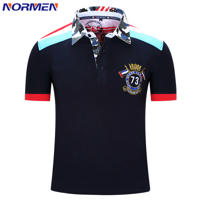 NORMEN Brand Men's Fashion Polo Shirt Hot Streetwear Short Sleeve Patchwork Shirt Men
