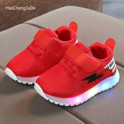 2020 LED Children Luminous Shoes Mesh Breathable Boys Grils Kids Sports Shoes Lighted Toddler Babys Glowing Sneakers Size 21-30