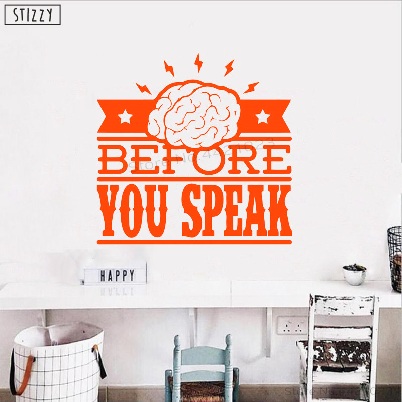 STIZZY Wall Decal Playroom Quotes Think Before You Speak Wall Stickers Creative Poster Kids Room Classroom Office Word Decor C46