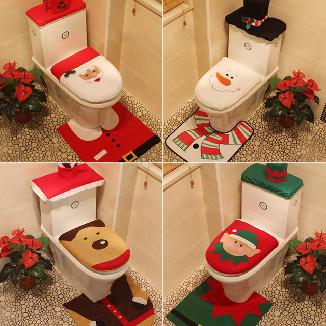 4 Styles 1 Set 3pc Fancy Happy Santa Toilet Seat Cover Rug Bathroom Decoration